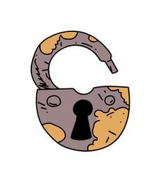 Old rusty padlock cartoon hand drawn image vector
