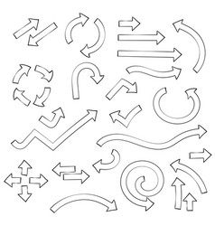 outline arrows set of icons and icons combnations vector image