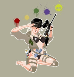 paintball pinup vector image