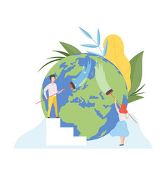 people cleaning earth planet with brushes vector image