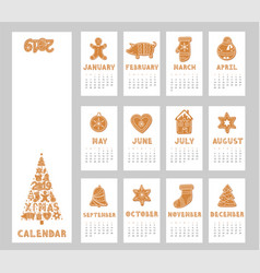 pig calendar for 2019 with gingerbread cookies vector image