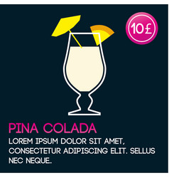 pina colada cocktail card template with price and vector image