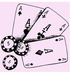 Playing chips and poker cards vector