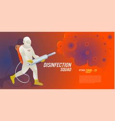 Print disinfection team attack corona viruses vector