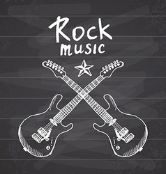 Rock Music Hand drawn sketch crossed guitars on vector image