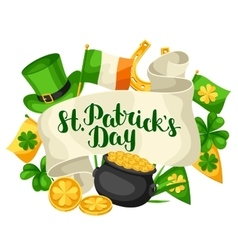 Saint Patricks Day greeting card Flag Ireland vector