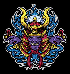 samurai head mascot logo design vector image