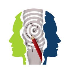 schizophrenia depression male head silhouettes vector image
