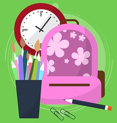 school bag with a pencil case in which the pens vector image