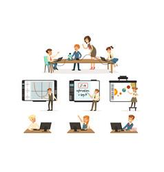 school children at informatics and programming vector image