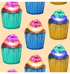 Seamless Cupcakes Pattern vector image
