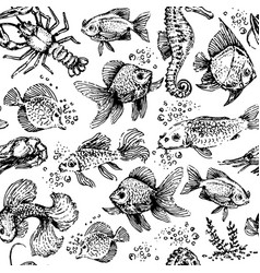 seamless sea animals pattern fish and lobster vector image