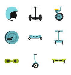 Self balancing scooter icon set flat style vector