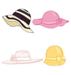 set cartoon color women hats vector image