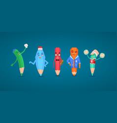 set of cartoon humanize school characters vector image