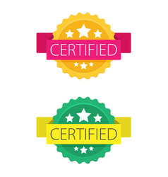 Set of certified stamp or seal sign isolated on vector