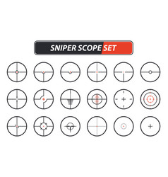 set of different sniper scope icons vector image