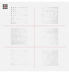Set of distressed halftone textures vector image