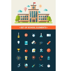 Set of flat design school icons vector