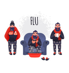 set of people having cold flu sick concept vector image