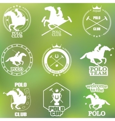 Set of vintage horse polo club labels and badges vector