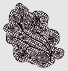 Single lace detail dark openwork flowers and vector