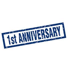 Square grunge blue 1st anniversary stamp vector