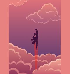 super business in cloudscape vector image