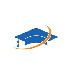 Swirl graduation hat logo image vector