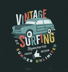 Vintage hand drawn tee print design with vector