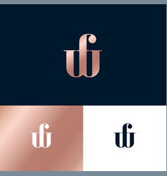 w and f letter monogram consist thin lines vector image