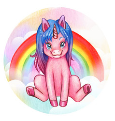 watercolor cute pink sitting unicorn with rainbow vector image