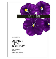 watercolor purple pansy bloom wedding card vector image