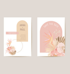 wedding card dried tropical palm leaves orchid vector image