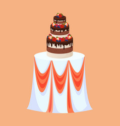 Wedding table with cake of chocolate and berries vector