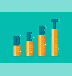 word debt on step stack coins as graph up vector image
