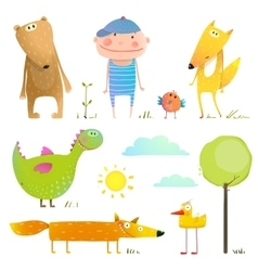 Collection cartoon animals and child for kids vector image vector image