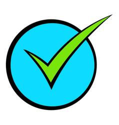green tick check mark icon cartoon vector image