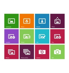 Photographs and Camera icons on color background vector image vector image