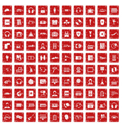 100 headphones icons set grunge red vector image vector image