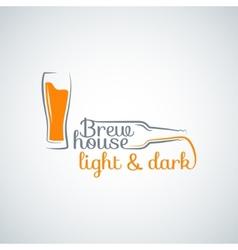 beer glass bottle background vector image vector image
