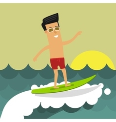 Businessman on vacation riding a surfboard vector image