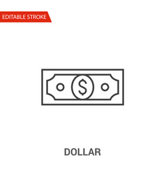 dollar check icon thin line vector image vector image