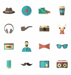Hipster Icon Flat Set vector image vector image