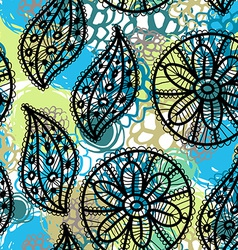 Lace seamless pattern with flowers and leaves blue vector image