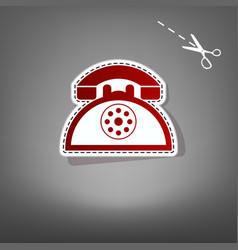 retro telephone sign red icon with for vector image vector image