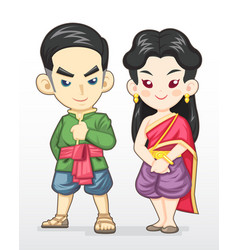 thai couple in traditional costume vector image