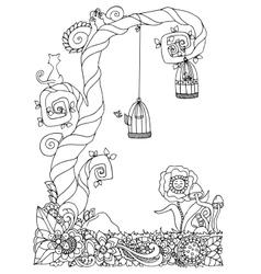 zentangl tree on the meadow vector image vector image