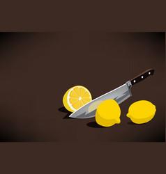 chefs knife slice a lemon for making a lemonade vector image