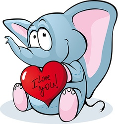 Cute elephant hold red heart - vector image vector image